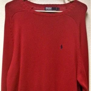 POLO BY RALPH LAUREN RED L/S CREW NECK SWEATER